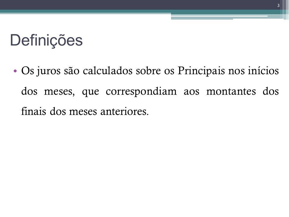 DefiniçõesOs juros são calculados sobre os Principais nos inícios dos meses, que correspondiam aos montantes dos finais dos meses anteriores.
