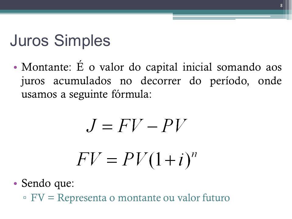 Juros Simples Montante: É o valor do capital inicial somando aos juros acumulados no decorrer do período, onde usamos a seguinte fórmula: