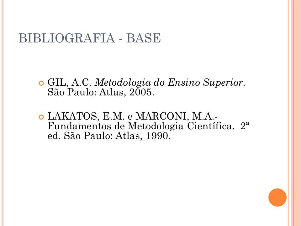 BIBLIOGRAFIA - BASE GIL, A.C. Metodologia do Ensino Superior. São Paulo: Atlas, 2005.