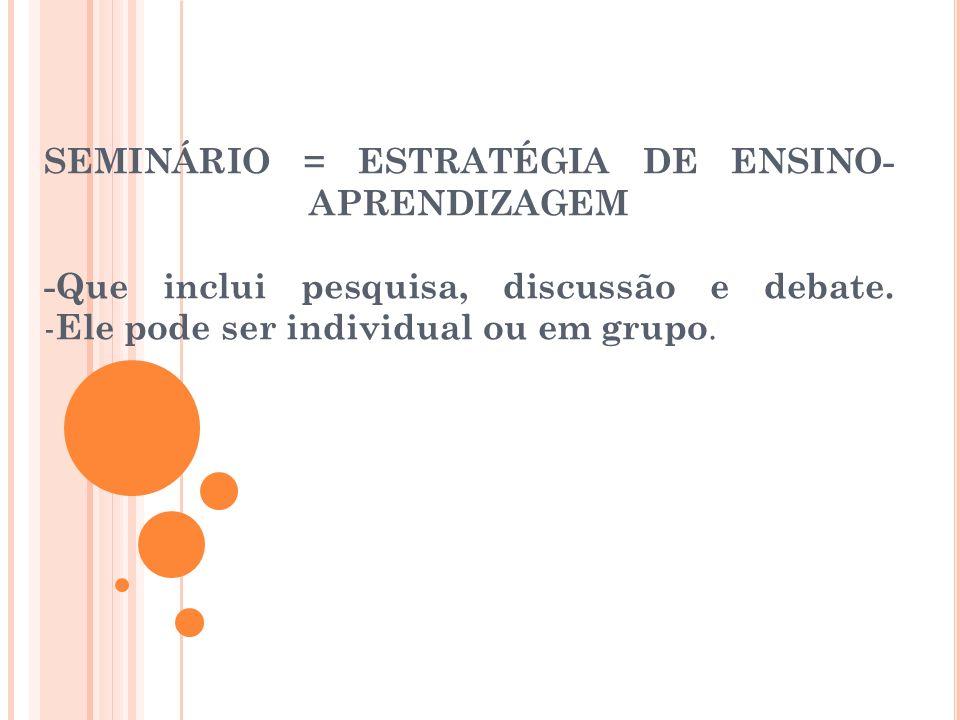 SEMINÁRIO = ESTRATÉGIA DE ENSINO- APRENDIZAGEM -Que inclui pesquisa, discussão e debate.