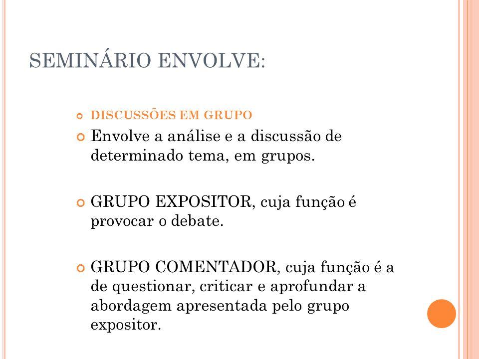SEMINÁRIO ENVOLVE:DISCUSSÕES EM GRUPO. Envolve a análise e a discussão de determinado tema, em grupos.