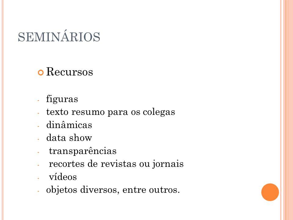 SEMINÁRIOS Recursos figuras texto resumo para os colegas dinâmicas