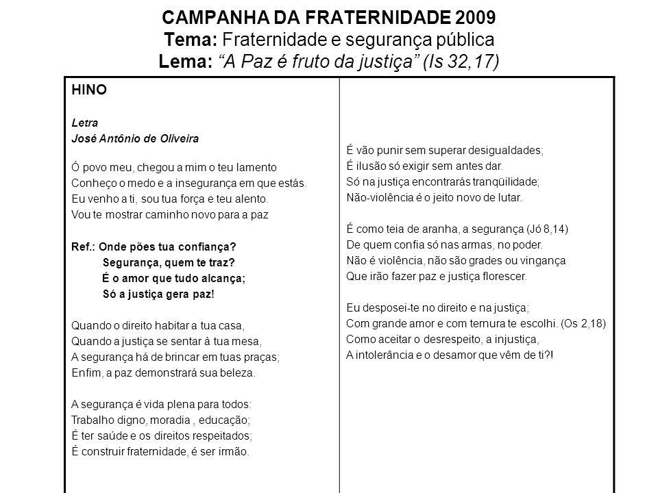 CAMPANHA DA FRATERNIDADE 2009 Tema: Fraternidade e segurança pública Lema: A Paz é fruto da justiça (Is 32,17)