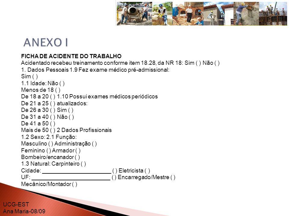 ANEXO I FICHA DE ACIDENTE DO TRABALHO