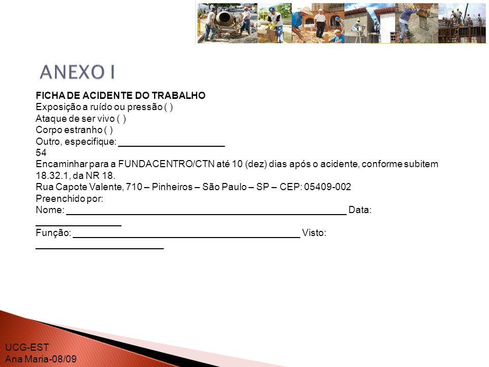 ANEXO I FICHA DE ACIDENTE DO TRABALHO Exposição a ruído ou pressão ( )