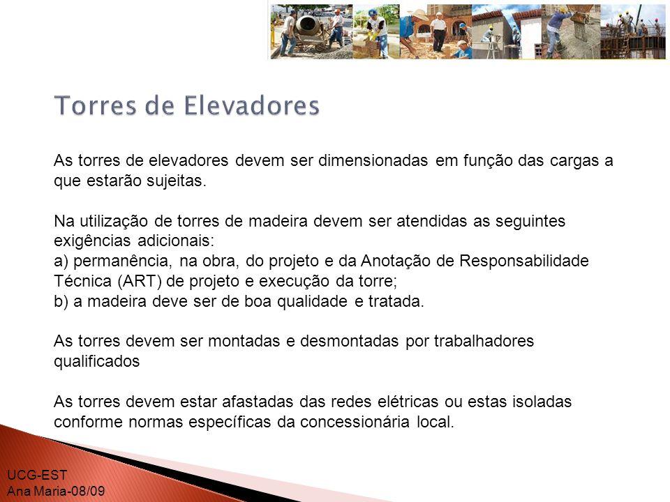 Torres de Elevadores As torres de elevadores devem ser dimensionadas em função das cargas a que estarão sujeitas.
