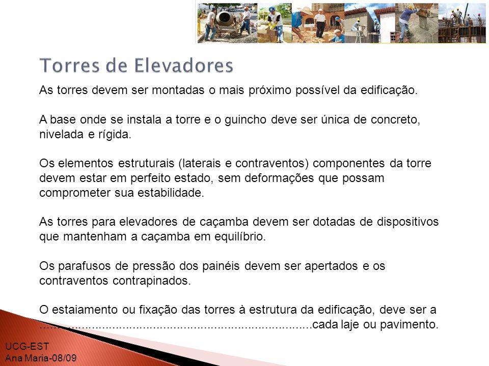 Torres de ElevadoresAs torres devem ser montadas o mais próximo possível da edificação.