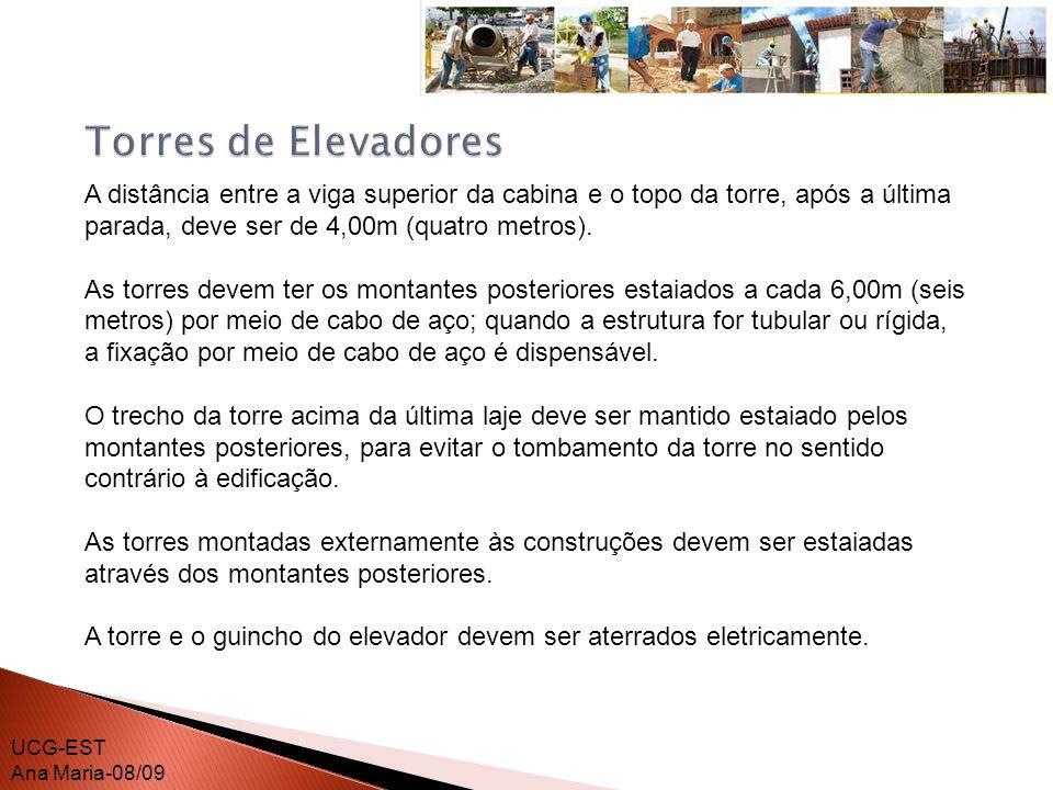 Torres de Elevadores A distância entre a viga superior da cabina e o topo da torre, após a última parada, deve ser de 4,00m (quatro metros).