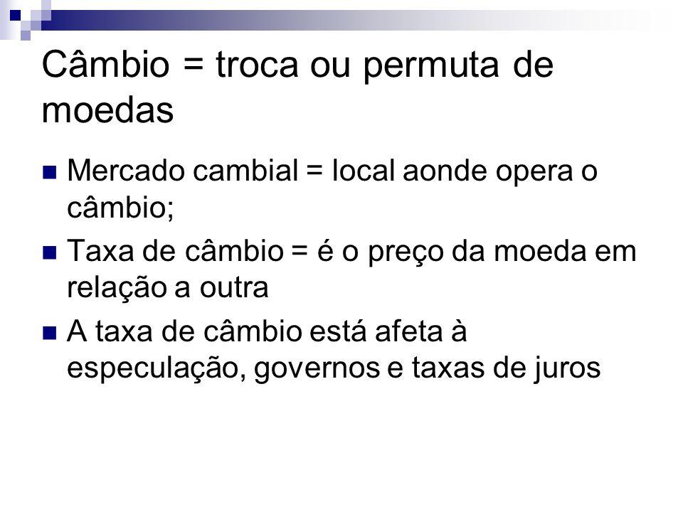 Câmbio = troca ou permuta de moedas