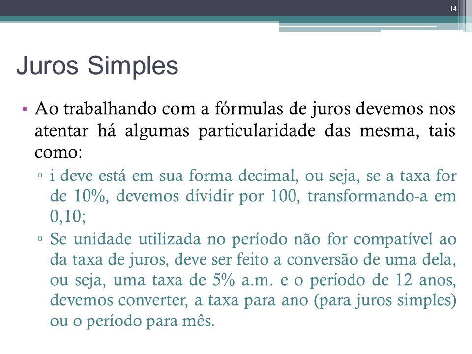 Juros Simples Ao trabalhando com a fórmulas de juros devemos nos atentar há algumas particularidade das mesma, tais como: