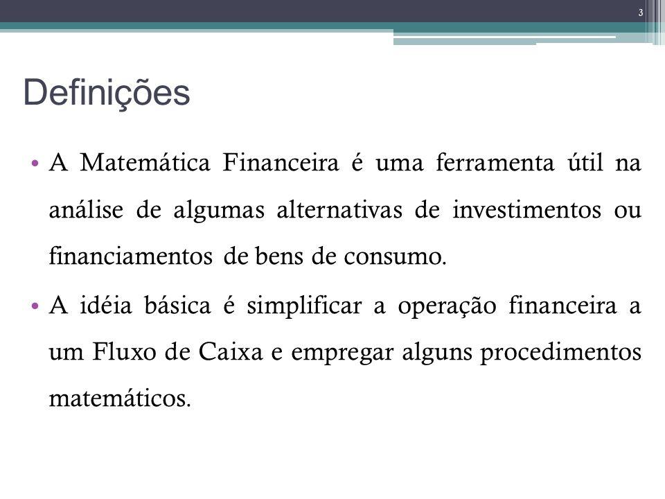 Definições A Matemática Financeira é uma ferramenta útil na análise de algumas alternativas de investimentos ou financiamentos de bens de consumo.