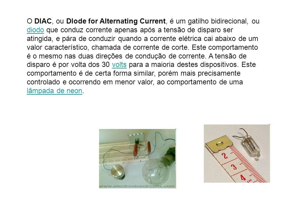 O DIAC, ou DIode for Alternating Current, é um gatilho bidirecional, ou diodo que conduz corrente apenas após a tensão de disparo ser atingida, e pára de conduzir quando a corrente elétrica cai abaixo de um valor característico, chamada de corrente de corte.