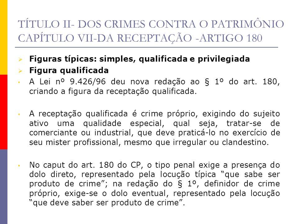TÍTULO II- DOS CRIMES CONTRA O PATRIMÔNIO CAPÍTULO VII-DA RECEPTAÇÃO -ARTIGO 180