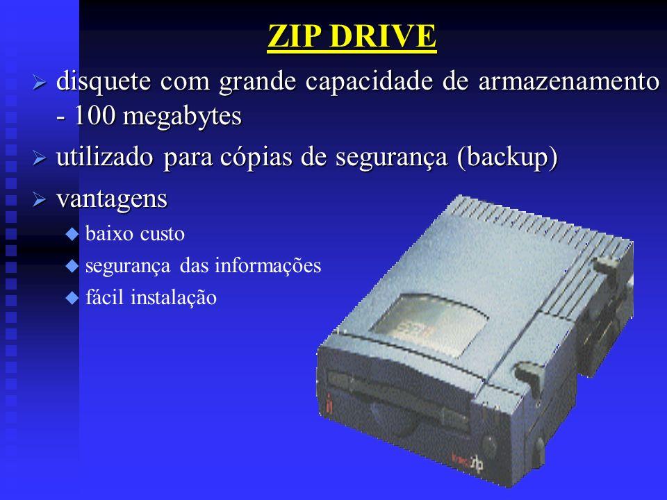 ZIP DRIVEdisquete com grande capacidade de armazenamento - 100 megabytes. utilizado para cópias de segurança (backup)