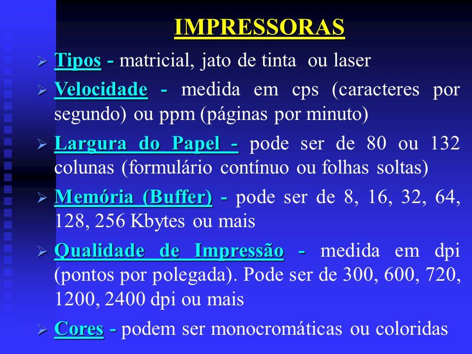 IMPRESSORAS Tipos - matricial, jato de tinta ou laser