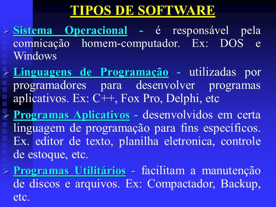 TIPOS DE SOFTWARESistema Operacional - é responsável pela comnicação homem-computador. Ex: DOS e Windows.