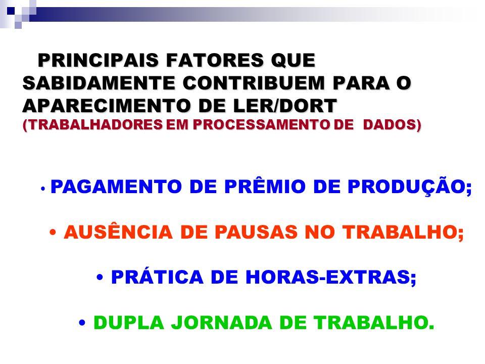 AUSÊNCIA DE PAUSAS NO TRABALHO; PRÁTICA DE HORAS-EXTRAS;