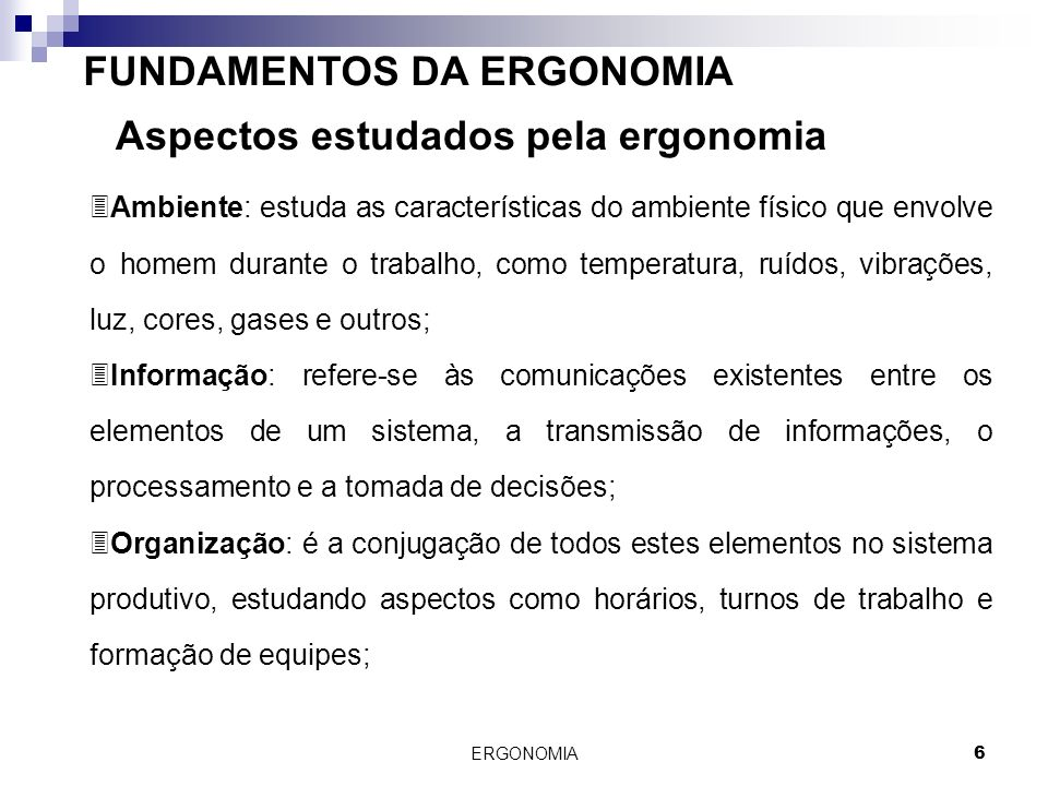 FUNDAMENTOS DA ERGONOMIA