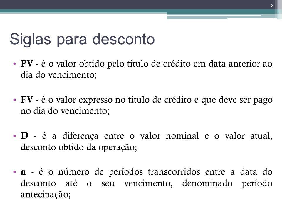 Siglas para desconto PV - é o valor obtido pelo título de crédito em data anterior ao dia do vencimento;