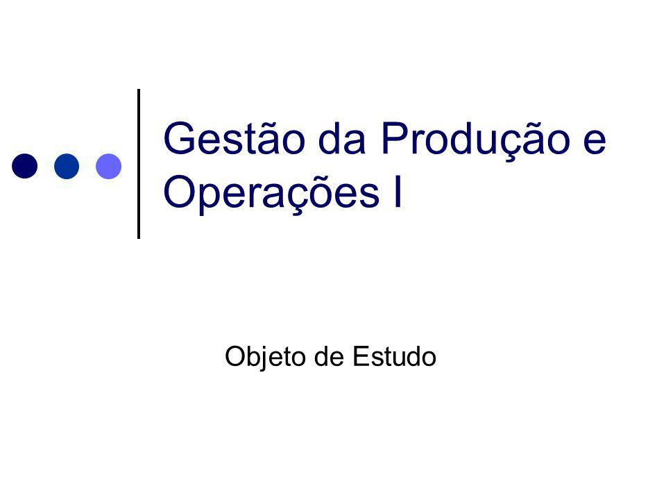 Gestão da Produção e Operações I