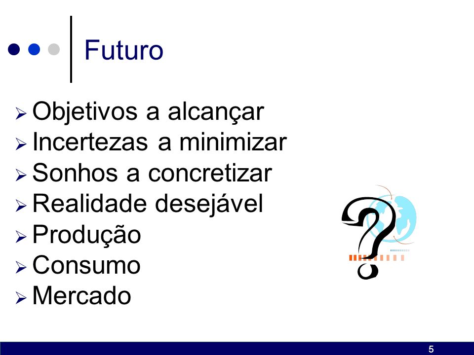 Futuro Objetivos a alcançar Incertezas a minimizar