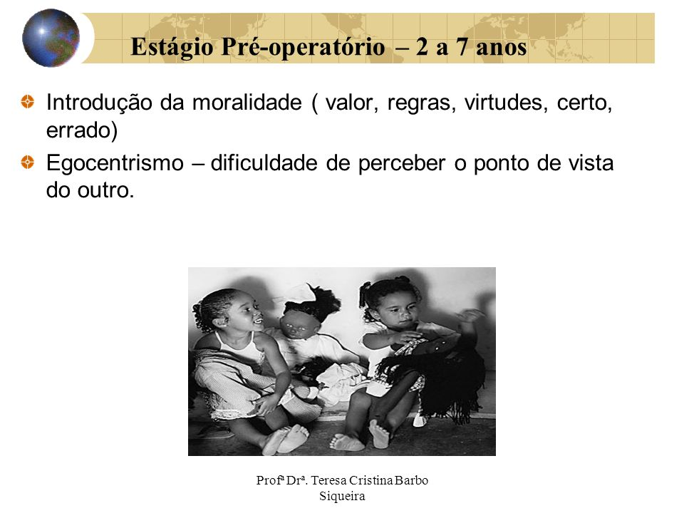 Estágio Pré-operatório – 2 a 7 anos