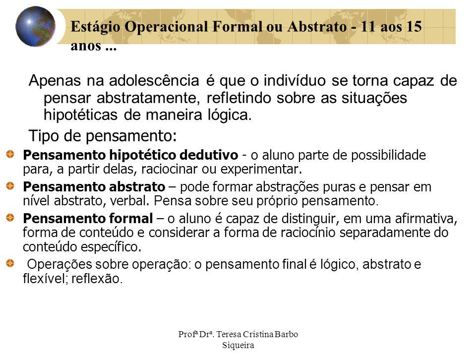 Estágio Operacional Formal ou Abstrato - 11 aos 15 anos ...