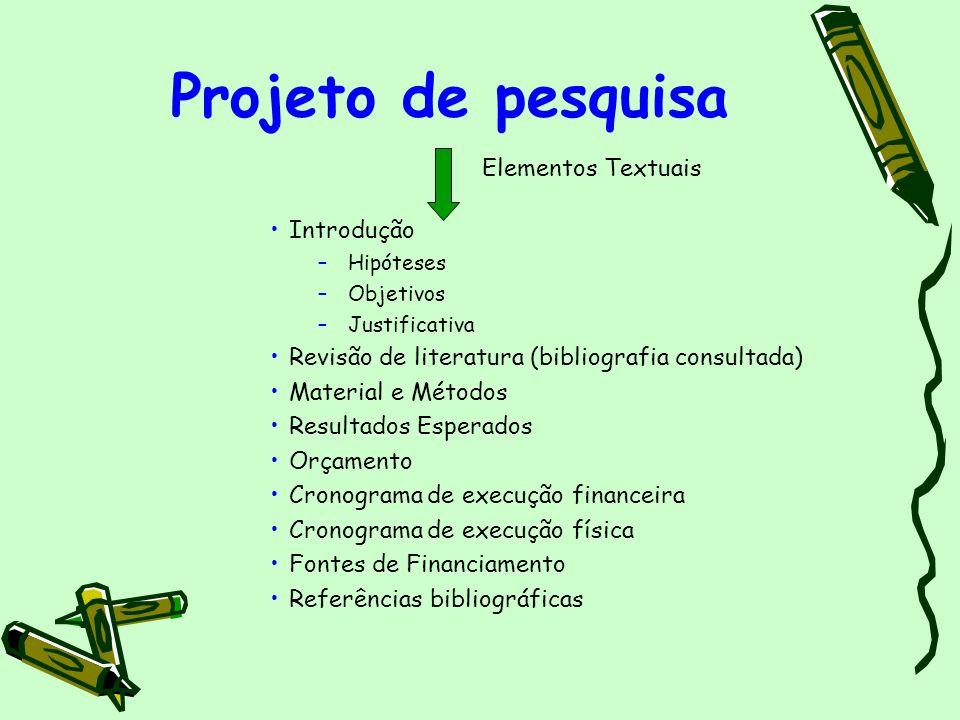Projeto de pesquisa Elementos Textuais Introdução