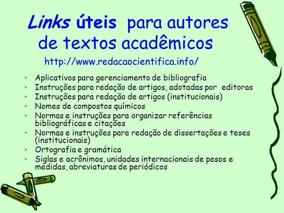 Links úteis para autores de textos acadêmicos