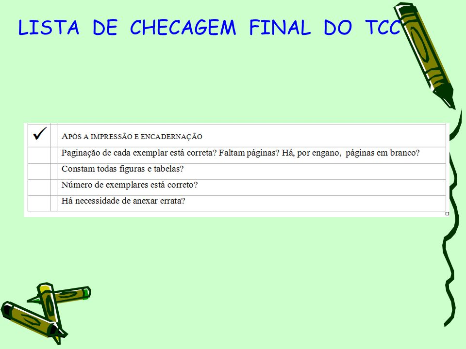 LISTA DE CHECAGEM FINAL DO TCC