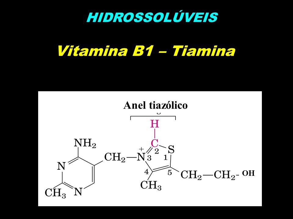 HIDROSSOLÚVEIS Vitamina B1 – Tiamina OH Anel tiazólico