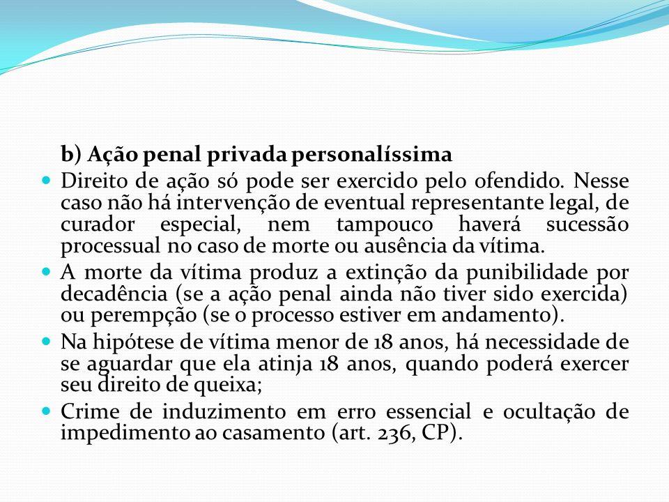 b) Ação penal privada personalíssima