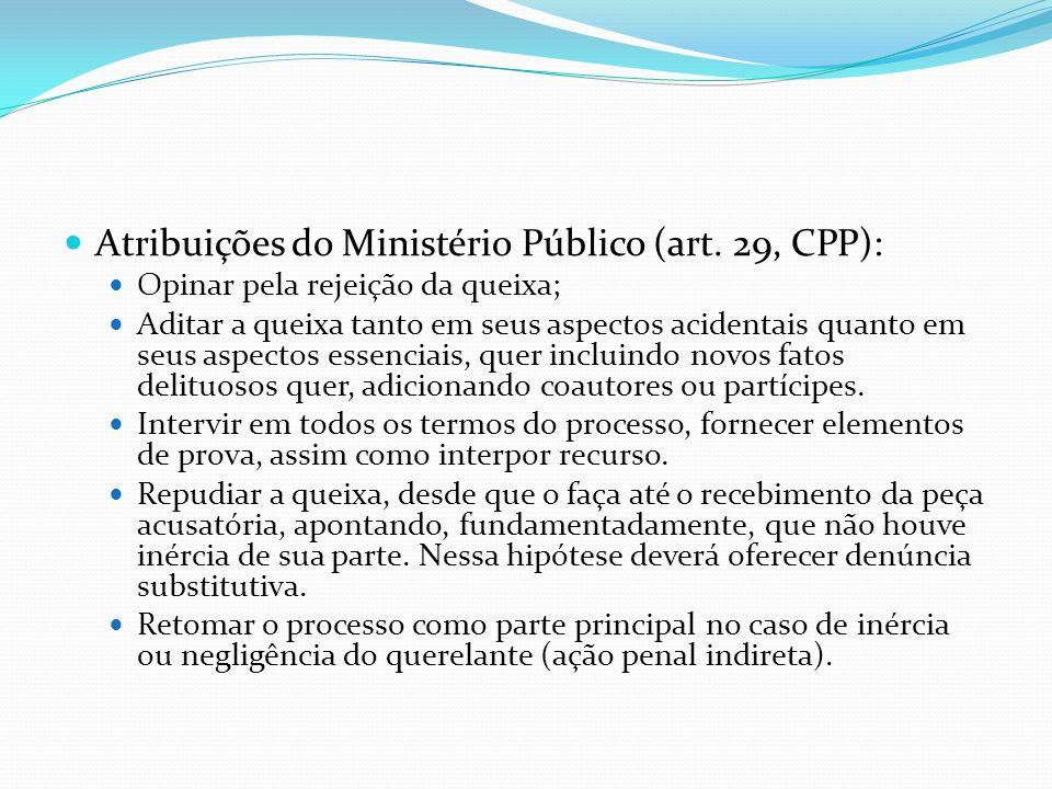 Atribuições do Ministério Público (art. 29, CPP):