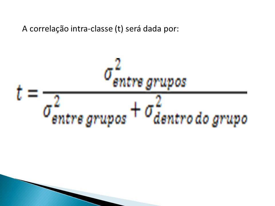 A correlação intra-classe (t) será dada por: