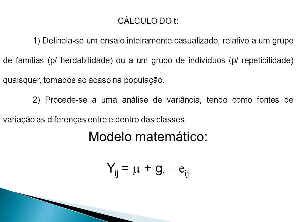Modelo matemático: Yij =  + gi + eij CÁLCULO DO t: