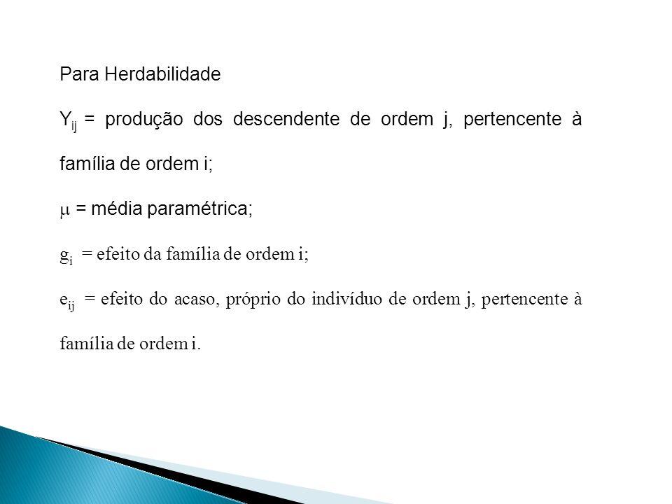 Para Herdabilidade Yij = produção dos descendente de ordem j, pertencente à família de ordem i;  = média paramétrica;