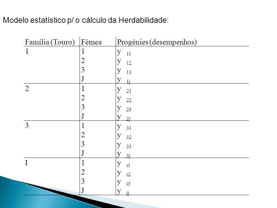 Modelo estatístico p/ o cálculo da Herdabilidade: