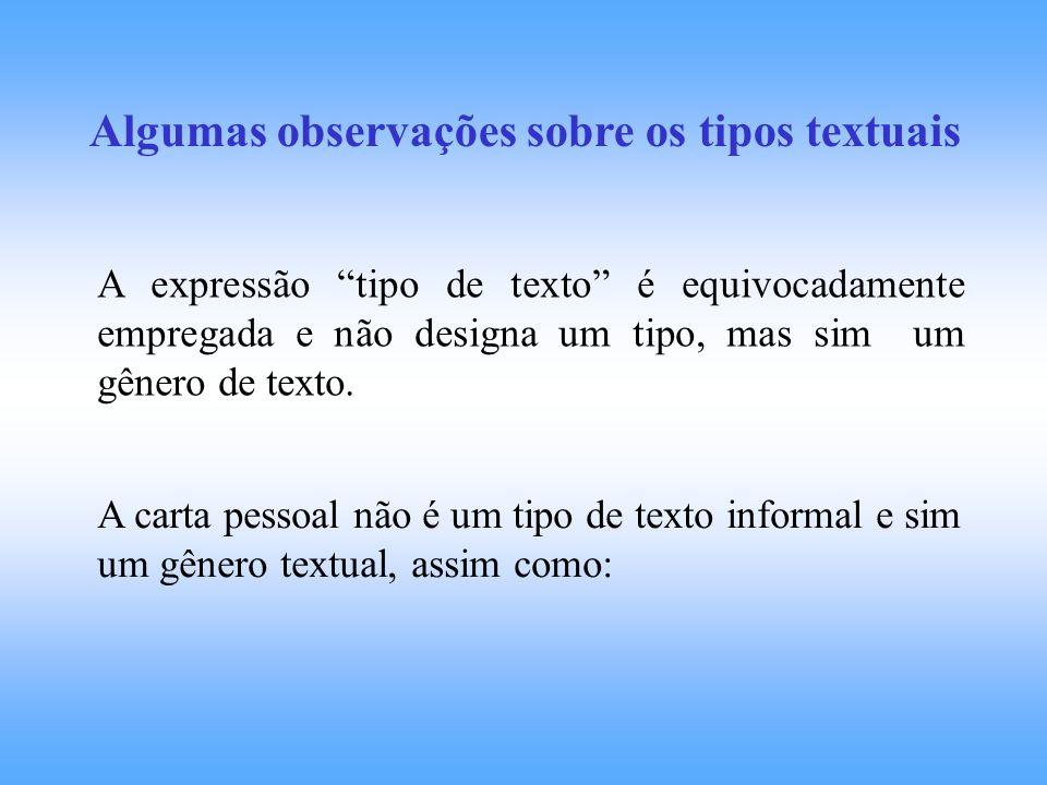 Algumas observações sobre os tipos textuais