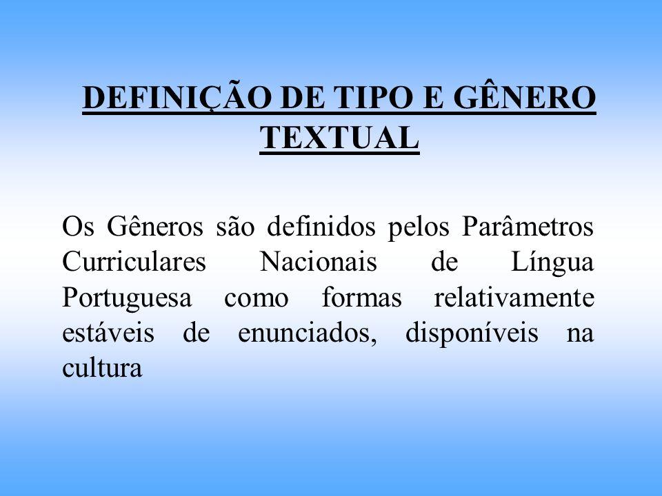 DEFINIÇÃO DE TIPO E GÊNERO TEXTUAL