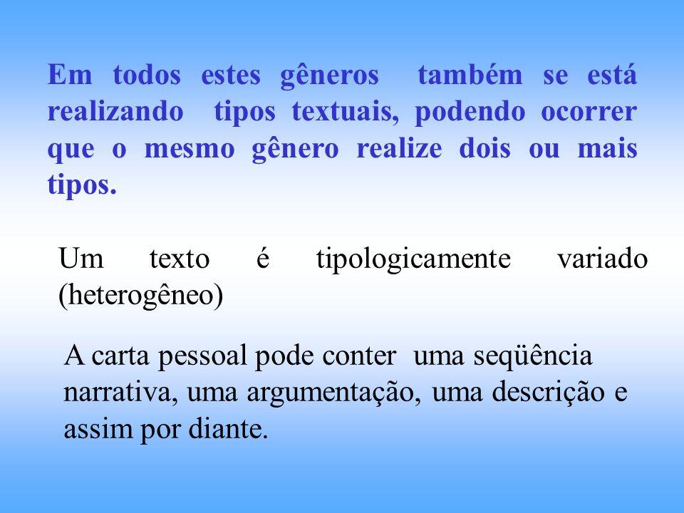 Em todos estes gêneros também se está realizando tipos textuais, podendo ocorrer que o mesmo gênero realize dois ou mais tipos.