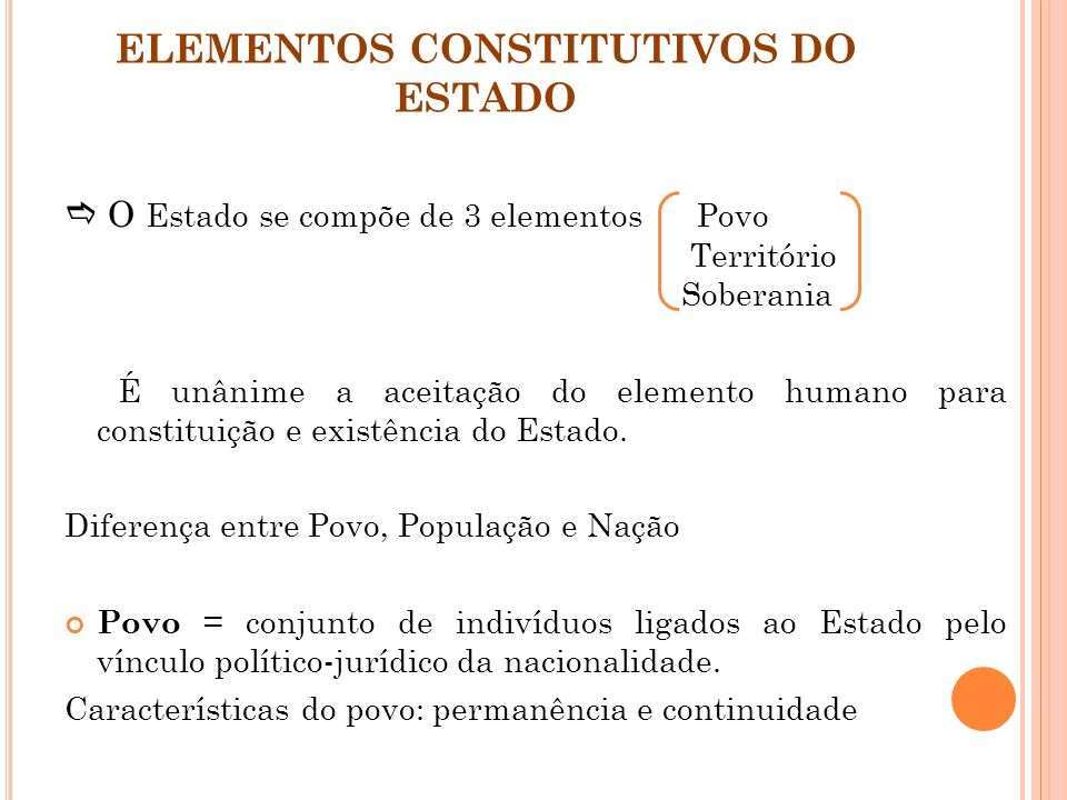 ELEMENTOS CONSTITUTIVOS DO ESTADO