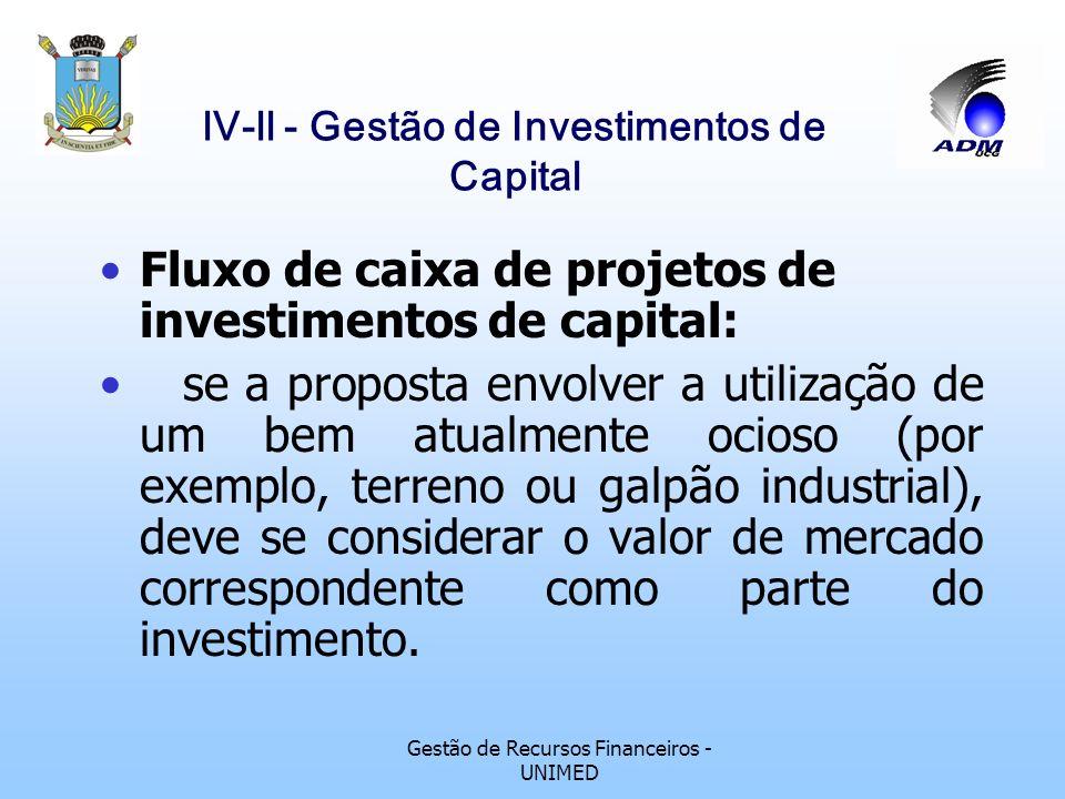 lV-ll - Gestão de Investimentos de Capital