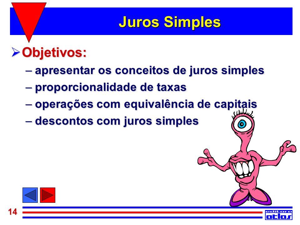 Juros Simples Objetivos: apresentar os conceitos de juros simples