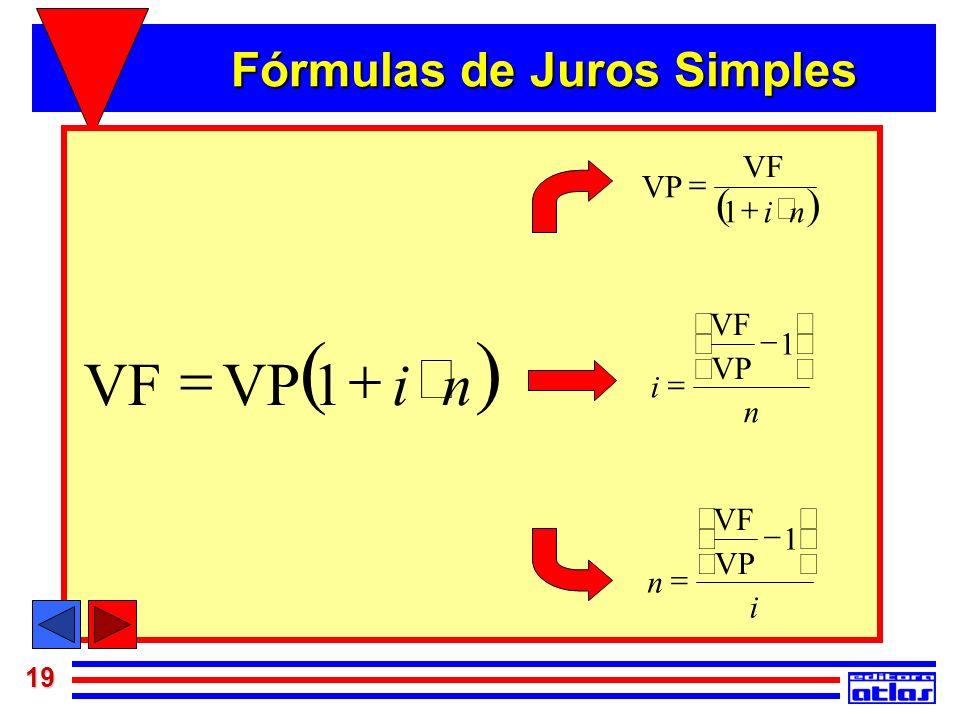 Fórmulas de Juros Simples