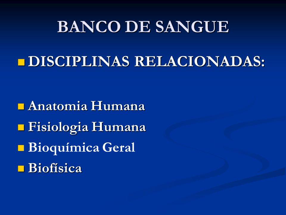 BANCO DE SANGUE DISCIPLINAS RELACIONADAS: Anatomia Humana