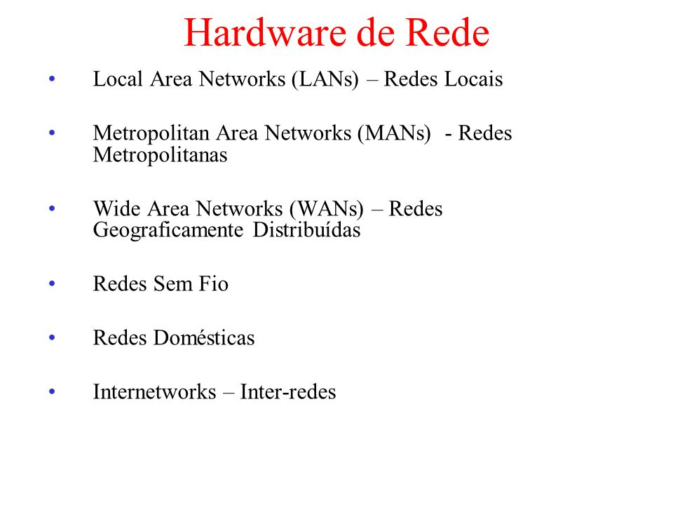 Hardware de Rede Local Area Networks (LANs) – Redes Locais