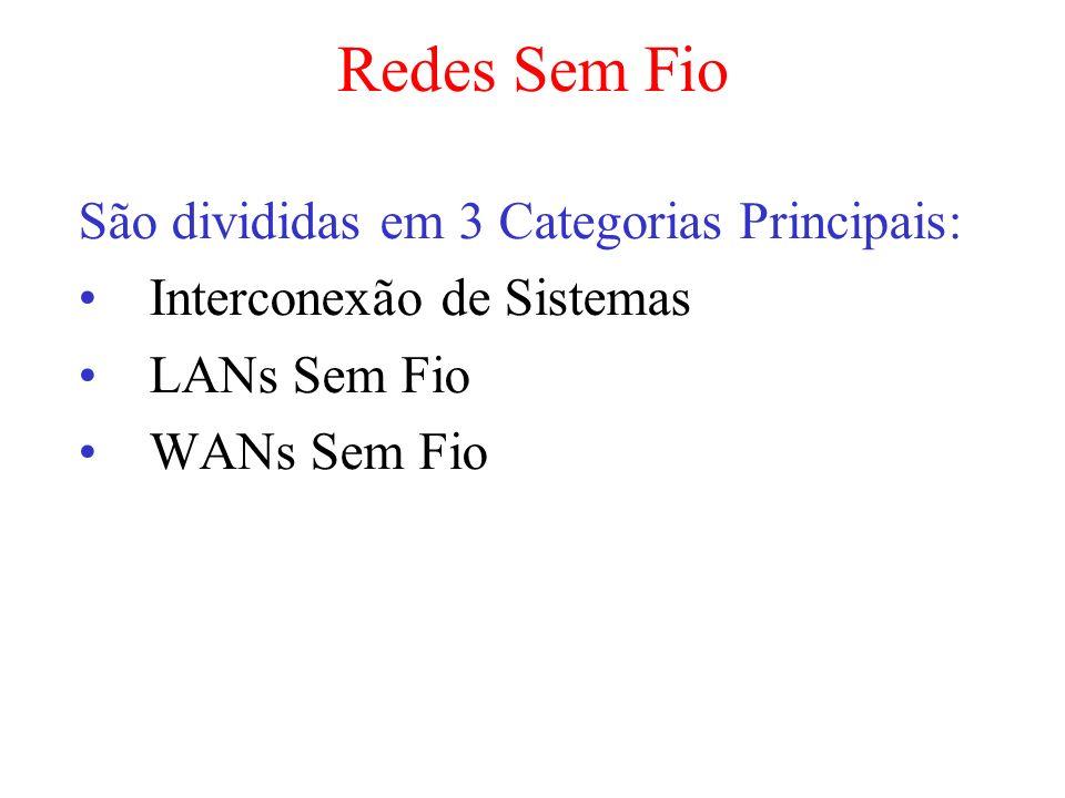 Redes Sem Fio São divididas em 3 Categorias Principais: