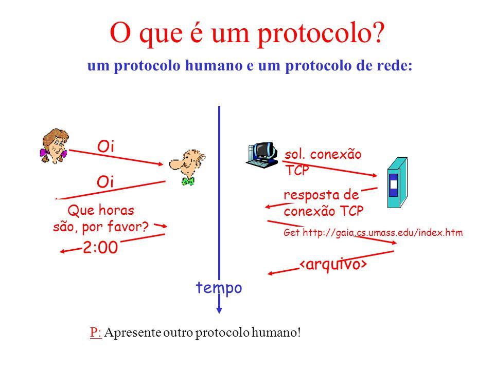 um protocolo humano e um protocolo de rede: