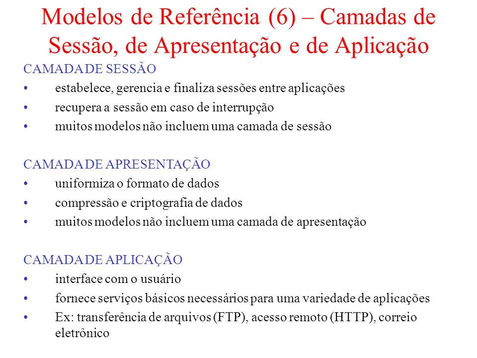 Modelos de Referência (6) – Camadas de Sessão, de Apresentação e de Aplicação