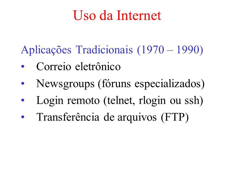 Uso da Internet Aplicações Tradicionais (1970 – 1990)
